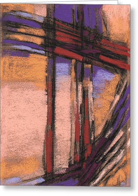 Loose Pastels Greeting Cards - Abstract in Peach Purple and Rust Greeting Card by Janine Aykens
