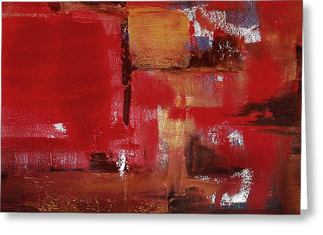 Gorna Greeting Cards - Abstract in Red Greeting Card by Gina De Gorna