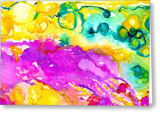 Transcendent Love Abstract Ink Art Colorful Wall Art Greeting Card by Patricia Awapara