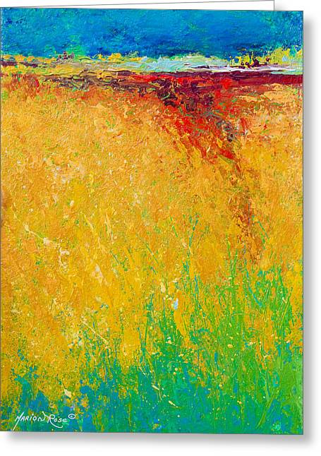 Autumn Art Greeting Cards - Abstract Landscape 1 Greeting Card by Marion Rose