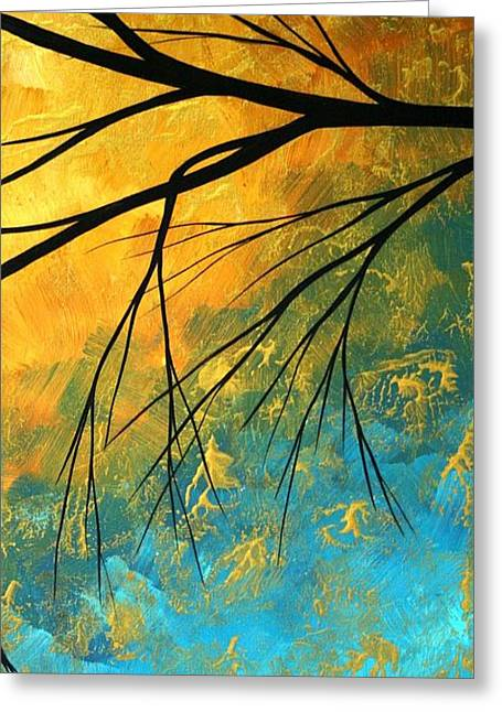 Yellow Abstract Art Greeting Cards - Abstract Landscape Art PASSING BEAUTY 2 of 5 Greeting Card by Megan Duncanson