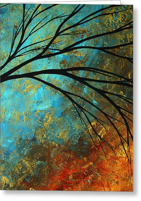 Red Leaves Greeting Cards - Abstract Landscape Art PASSING BEAUTY 4 of 5 Greeting Card by Megan Duncanson