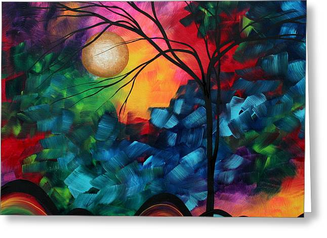 Contemporary Greeting Cards - Abstract Landscape Bold Colorful Painting Greeting Card by Megan Duncanson