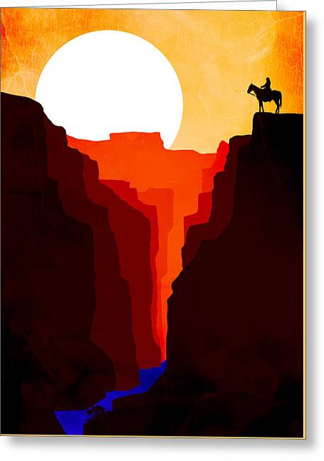 Sunset Prints Greeting Cards - Abstract Landscape Canyon Art 7 - by Nostalgic Art    Greeting Card by Nostalgic Art