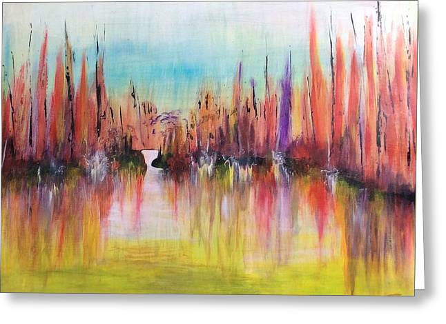 Lamdscape Greeting Cards - Abstract landscape Greeting Card by Eva-marie Hambley