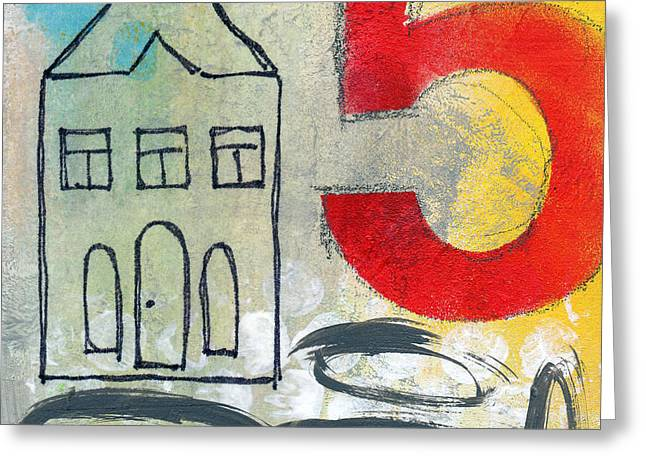 Houses Greeting Cards - Abstract Landscape Greeting Card by Linda Woods