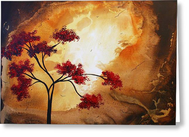 Red Leaves Greeting Cards - Abstract Landscape Painting EMPTY NEST 12 by MADART Greeting Card by Megan Duncanson
