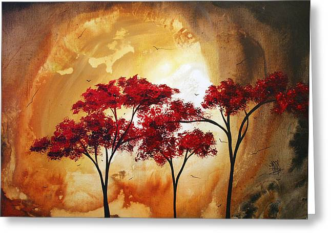 Red Leaves Greeting Cards - Abstract Landscape Painting EMPTY NEST 2 by MADART Greeting Card by Megan Duncanson