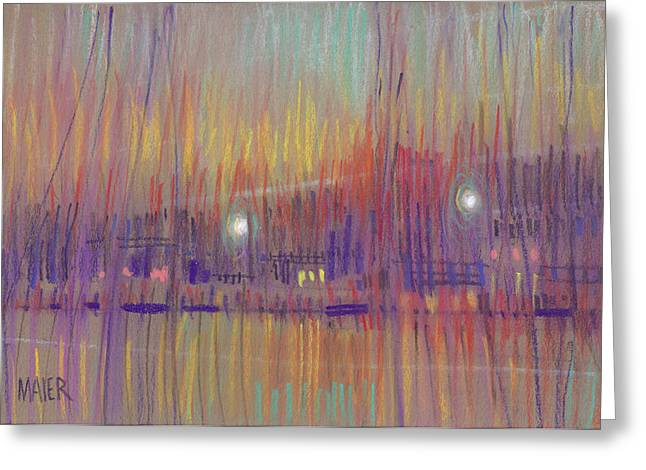 Sunset Drawings Greeting Cards - Abstract Landscape Three Greeting Card by Donald Maier