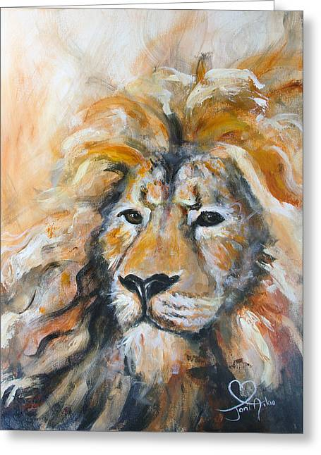 Lions Greeting Cards - Abstract lion Greeting Card by Joni Aikio
