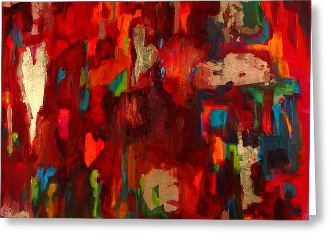 Red Abstracts Greeting Cards - Abstract Love Greeting Card by Billie Colson