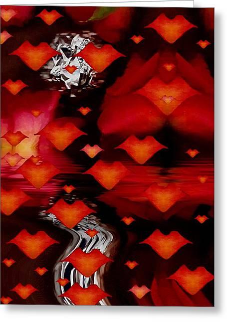 Rose Petals Mixed Media Greeting Cards - Abstract Love Greeting Card by Pepita Selles