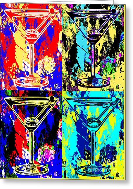 Martini Greeting Cards - Abstract Martinis Greeting Card by Jon Neidert