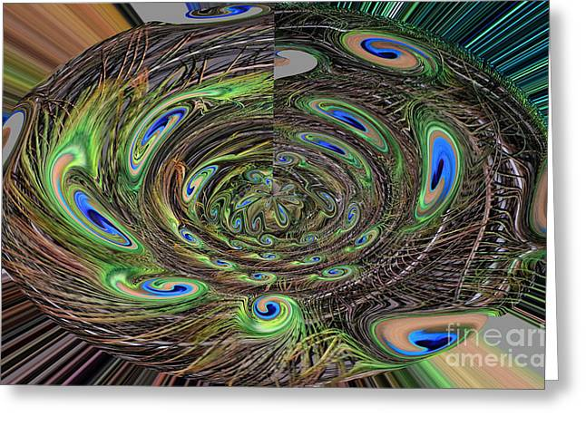 Abstract Digital Drawings Greeting Cards - Abstract of Peacock Feathers III Greeting Card by Jim Fitzpatrick