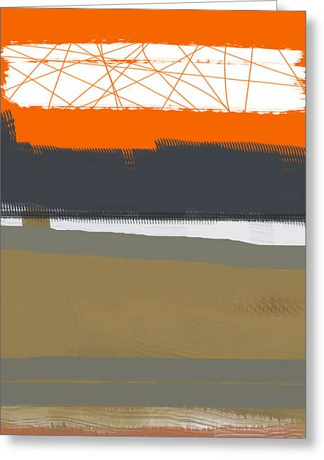Shapes Greeting Cards - Abstract Orange 1 Greeting Card by Naxart Studio