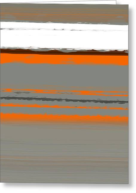 Line Paintings Greeting Cards - Abstract Orange 2 Greeting Card by Naxart Studio
