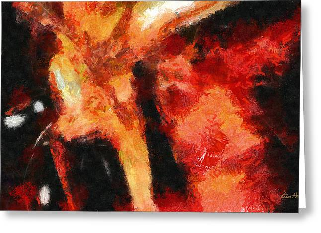 Red Abstract Pastels Greeting Cards - Abstract Orange Red Greeting Card by Russ Harris