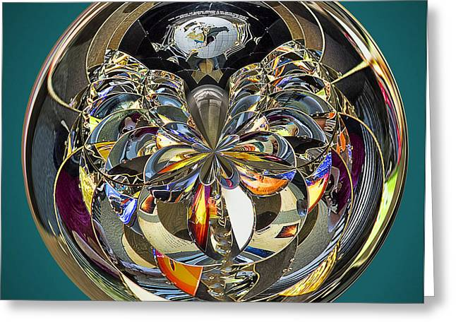 Fractal Orbs Greeting Cards - Abstract Orb Greeting Card by Sharon Moore