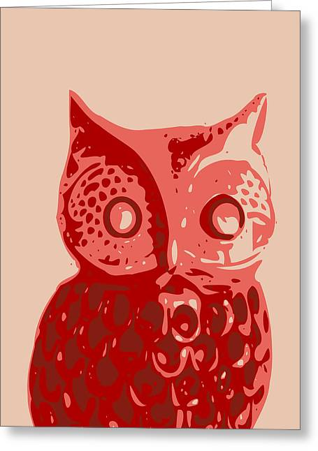 Printmaking Greeting Cards - Abstract Owl Contours Red Greeting Card by Keshava Shukla
