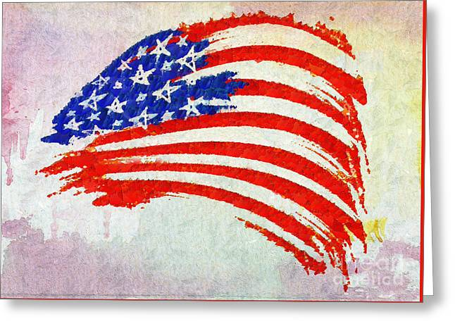 Abstract Painted American Flag Greeting Card by Stefano Senise
