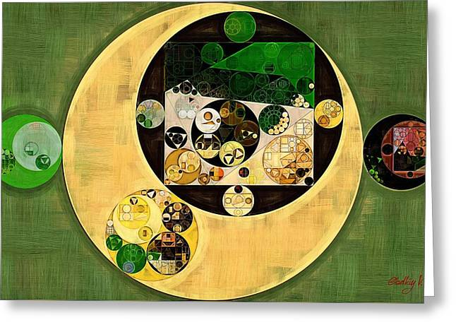 Abstract Painting - Dark Olive Green Greeting Card by Vitaliy Gladkiy