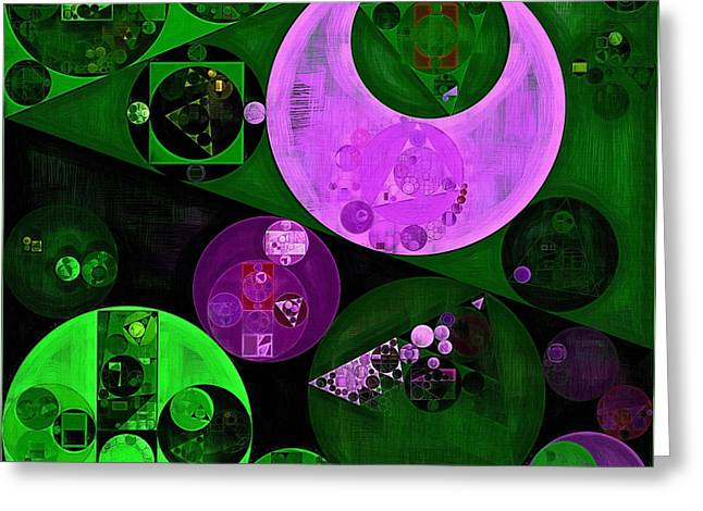 Orchids Art Greeting Cards - Abstract painting - Islamic green Greeting Card by Vitaliy Gladkiy