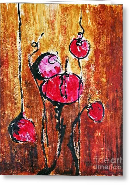 Acrylic Art Greeting Cards - Abstract Painting With Buds In Shades Greeting Card by Tara Thelen
