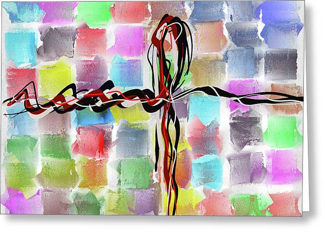 Time2paint Greeting Cards - Abstract Patchwork Canvas Greeting Card by Michael Greenaway