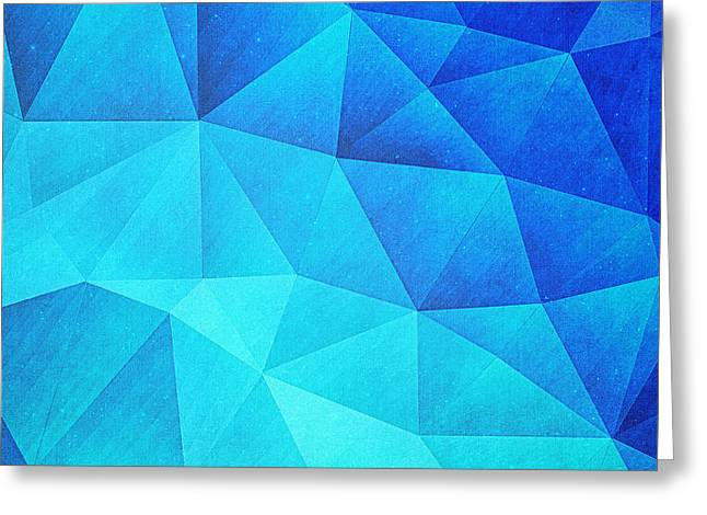 Abstract Polygon Multi Color Cubizm Painting In Ice Blue Greeting Card by Philipp Rietz