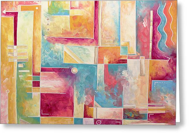 Licensor Greeting Cards - Abstract PoP Art Style Unique Pastel Painting Contemporary Art by Megan Duncanson Greeting Card by Megan Duncanson