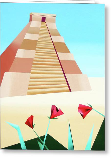 Ziggurat Greeting Cards - Abstract Pyramid Acrylic Painting by Artist Mark Webster Greeting Card by Mark Webster