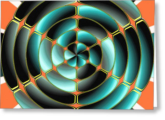Geometric Artwork Greeting Cards - Abstract radial object Greeting Card by Gaspar Avila