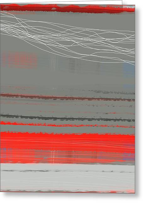 Office Space Greeting Cards - Abstract Red 2 Greeting Card by Naxart Studio
