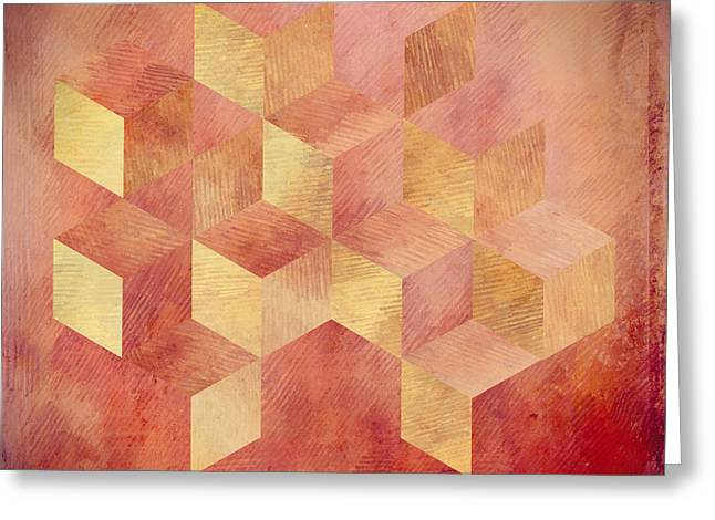 Abstract Red And Gold Geometric Cubes Greeting Card by Brandi Fitzgerald
