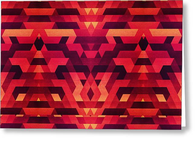 Abstract Red Geometric Triangle Texture Pattern Design Digital Futrure  Hipster  Fashion Greeting Card by Philipp Rietz