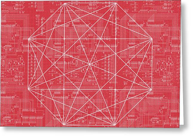 Abstract Red Octagon Line Art Greeting Card by Brandi Fitzgerald