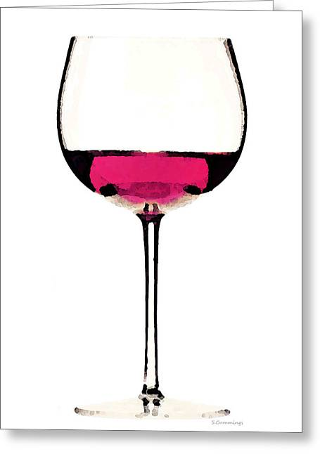 Cabernet Digital Greeting Cards - Abstract Red Wine Glass 1 Greeting Card by Sharon Cummings