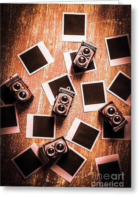 Abstract Retro Camera Background Greeting Card by Jorgo Photography - Wall Art Gallery