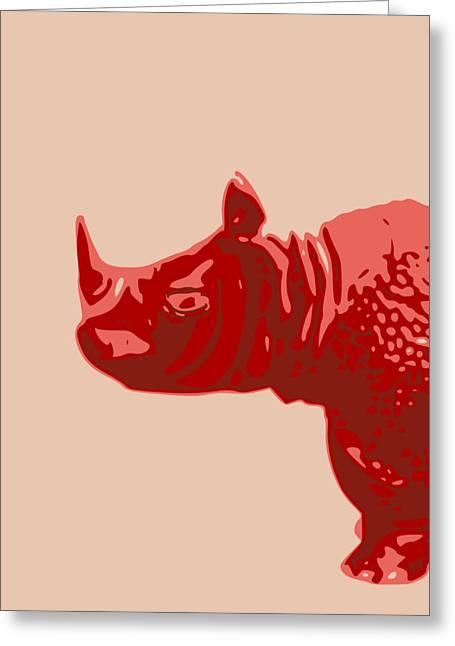 Rhinoceros Greeting Cards - Abstract Rhino Contours Glaze Greeting Card by Keshava Shukla