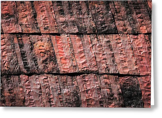 Abstract Rusty Metal Sheet Roofing Greeting Card by Jozef Jankola
