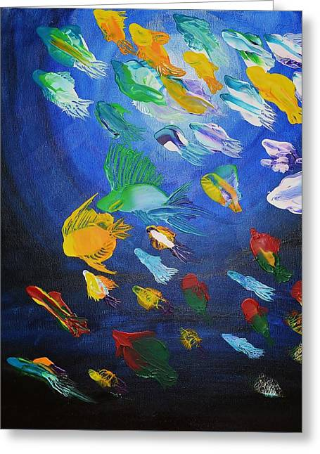 Nature Abstracts Greeting Cards - Abstract Shoal Of Fish Greeting Card by Mario Lorenz alias MaLo Magic Blue