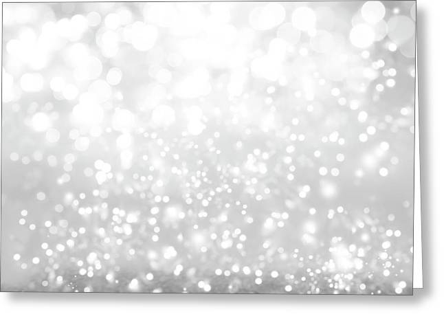 Abstract Silver Bokeh Greeting Card by Les Cunliffe