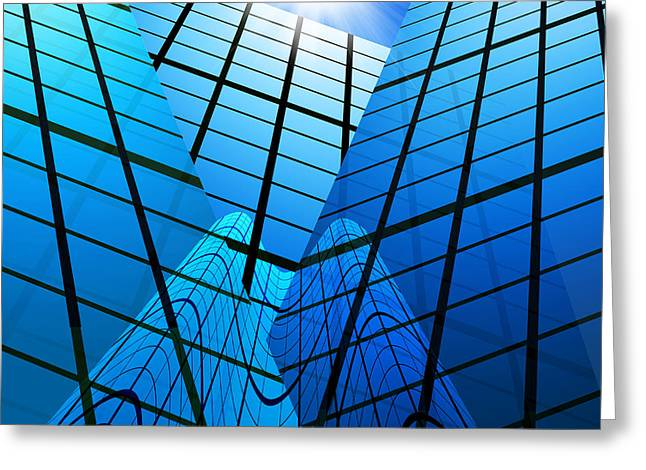 Mirror Reflection Greeting Cards - Abstract Skyscrapers Greeting Card by Setsiri Silapasuwanchai