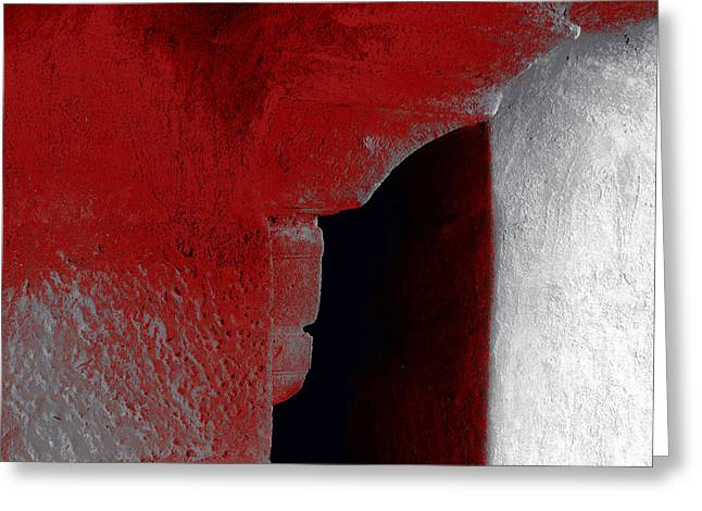 Abstract Style Greeting Cards - Abstract Square Red Black White Grey Textured Window Alcove 2a Greeting Card by Sue Jacobi