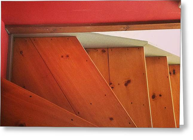 Wooden Stairs Greeting Cards - Abstract Stairs Greeting Card by Lynn-Marie Gildersleeve