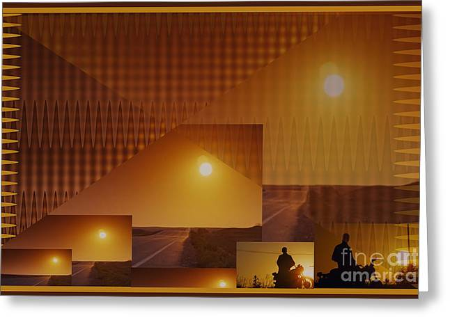 Graphics Framed Prints Greeting Cards - Abstract style graphics based on Sunset photography of Canadian West Greeting Card by Navin Joshi