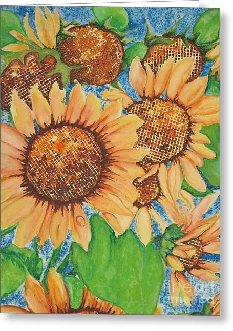 Fantasty Greeting Cards - Abstract Sunflowers Greeting Card by Chrisann Ellis