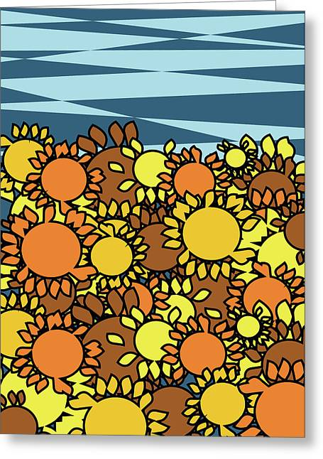 Yellow Sunflower Greeting Cards - Abstract sunflowers field Greeting Card by Mihaela Pater