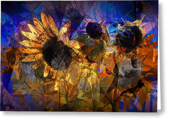 Abstract Sunflowers Greeting Card by Randall Nyhof