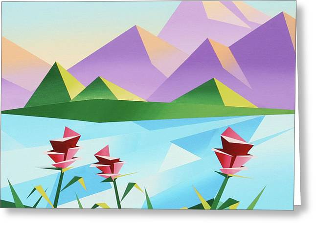 Daily Painter Greeting Cards - Abstract Sunrise at the Mountain Lake 2 Greeting Card by Mark Webster